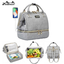 Bag Viedouce Insulated Lunch-Bag Usb-Diaper Travel School Women Kid for Cooler-Box Office