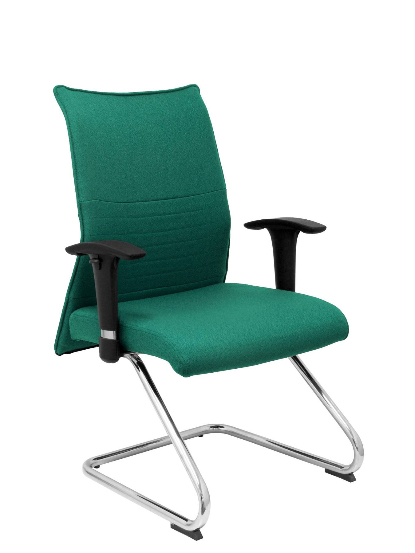 Armchair Confidante Ergonomic For Visits With Skate Chrome Up Seat And Backstop Upholstered In BALI Tissue Green Color