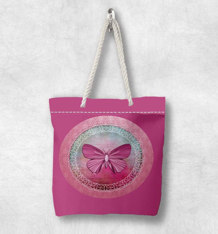 Başka bir pembe gri kelebek yay yeni moda beyaz halat kolu kanvas çanta pamuk kanvas fermuarlı Tote çanta omuzdan askili çanta