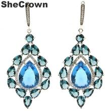 Long Big London Blue Topaz, White CZ Ladies Wedding 925 Silver Earrings Gift  59x26mm