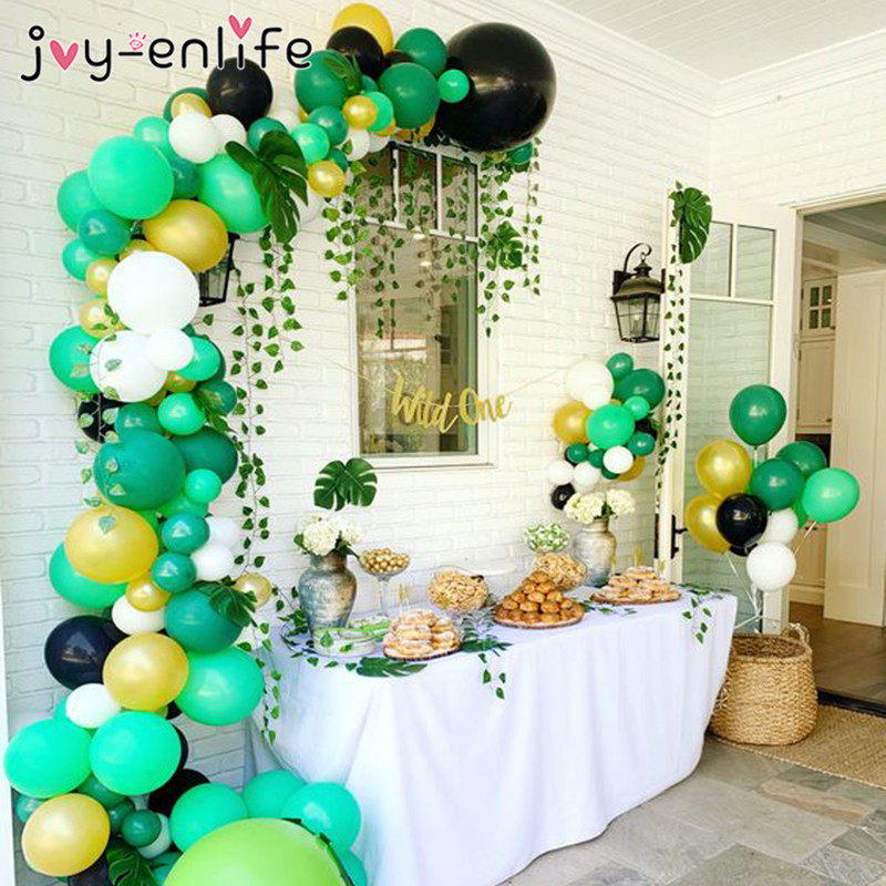 <font><b>70</b></font>/113pcs Jungle Balloon Garland Baby Shower Wild One <font><b>Birthday</b></font> Decor Green Balloons Arch Kit Rainforest Safari <font><b>Party</b></font> Baloon image