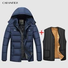 Caranfier 따뜻한 두꺼운 겨울 자 켓 남자 옷 캐주얼 스탠드 칼라 고품질 패션 브랜드 겨울 코트 남자 파 카 겉옷