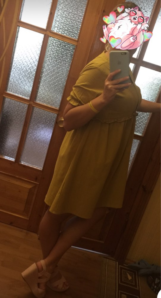 Women Vintage Short Sleeve Solid Loose Ruffles Shirt Summer Long Top Casual Cotton Linen Dress Party Mini Vestido photo review