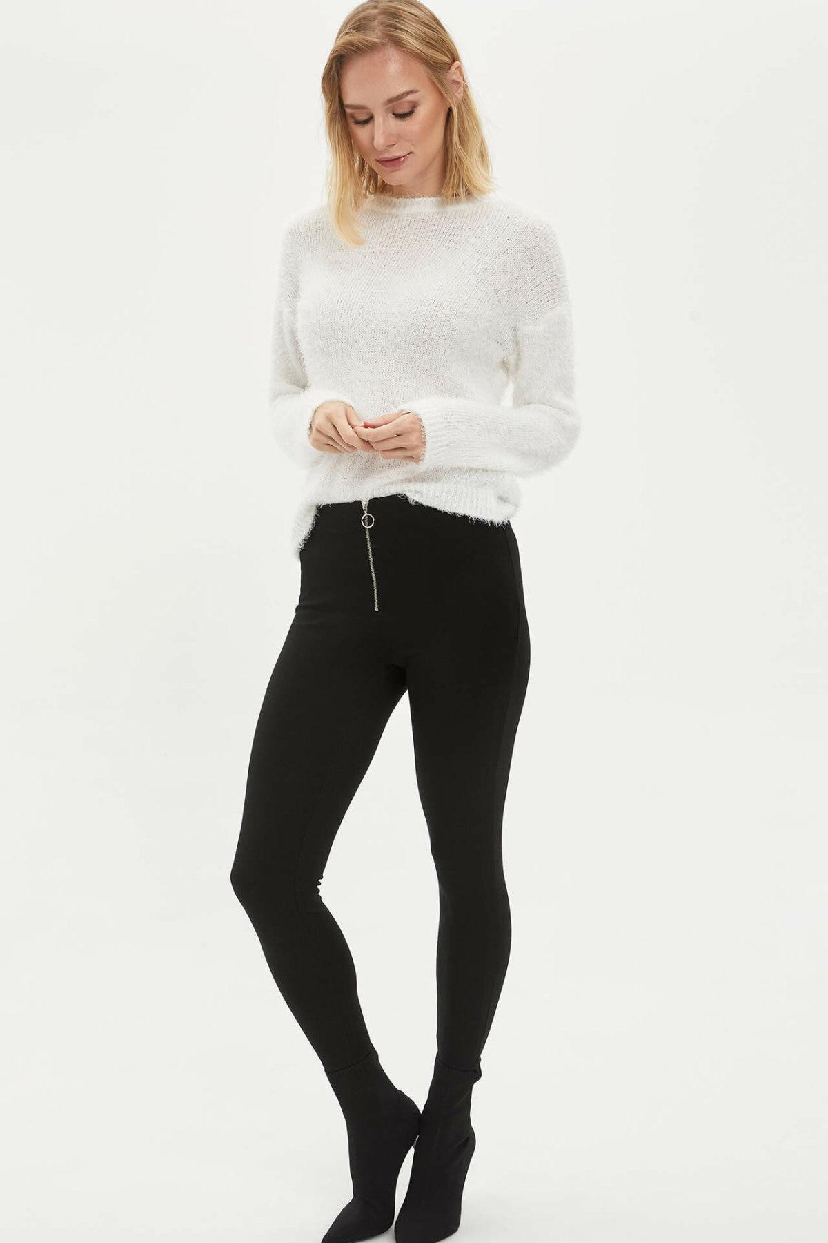 DeFacto Woman Black Slim Legging Pants Women Casual Zipper Decors Leggings Bottoms Female Skinny Pants-K7644AZ20SP