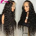 30 32 34 40 дюймовые безклеевые бразильские волнистые вьющиеся 13x4 кружевные передние парики с глубокой волной человеческие волосы Длинный фрон...