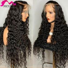 30 32 34 40 polegada glueless onda de água brasileira encaracolado 13x4 perucas dianteiras do laço onda profunda cabelo humano peruca frontal longa preto mulher 180%