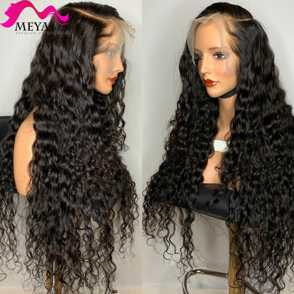 30 32 34 40 polegada glueless onda de água brasileira encaracolado 13x4 perucas dianteiras do laço onda profunda cabelo humano peruca frontal longa preto mulher 180%|Apliques com cabelo humano|   -