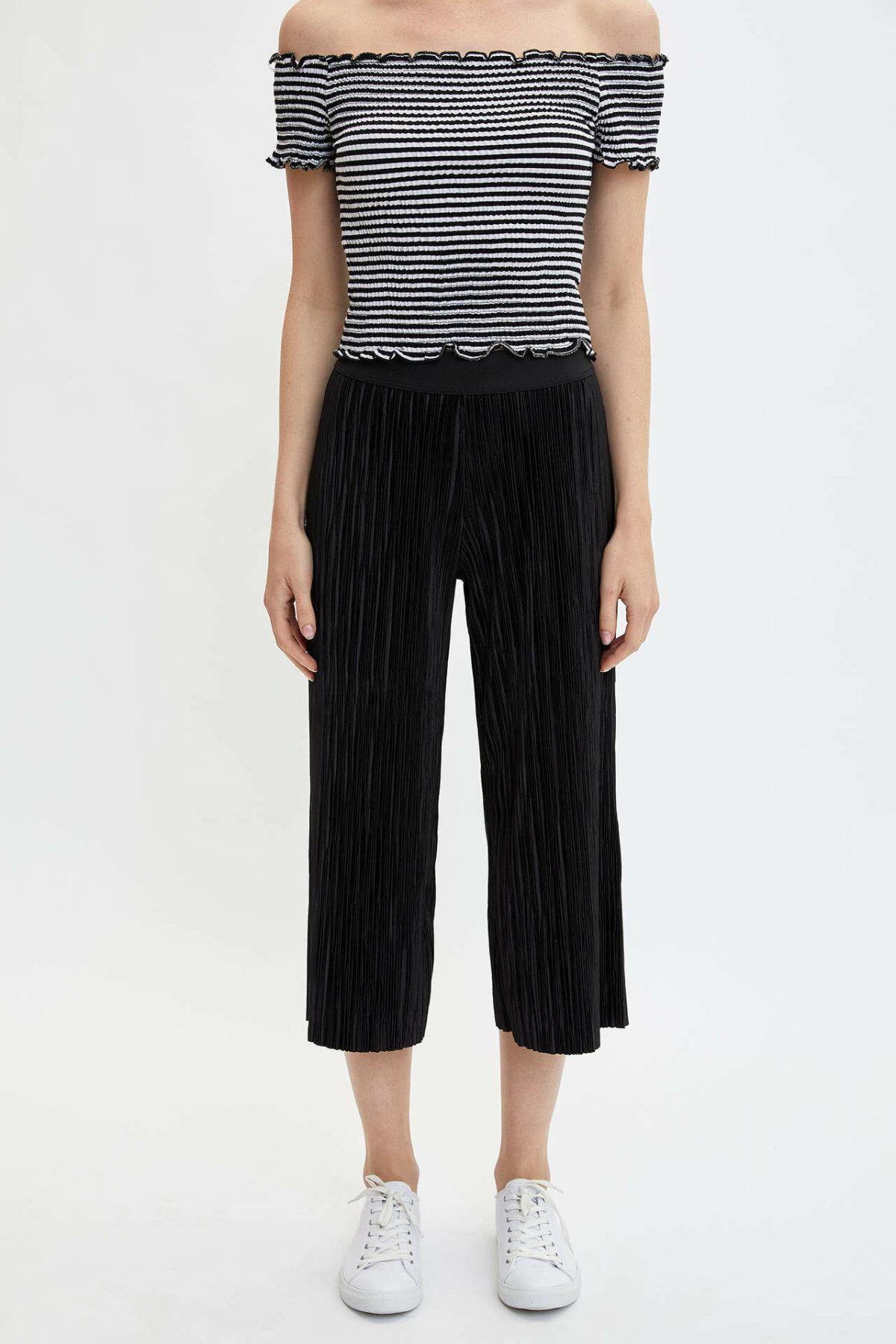 DeFacto Woman Summer Wide-leg Pants Women Stylish Pleated Ninth Pants Female Elastic Black Bottoms Trousers-K8555AZ19SM