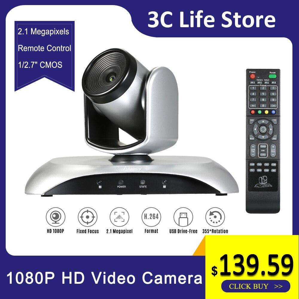 Caméra de vidéoconférence HD 1080P Webcam grand Angle à mise au point fixe Rotation de 355 ° avec télécommande pour l'enseignement des réunions vidéo