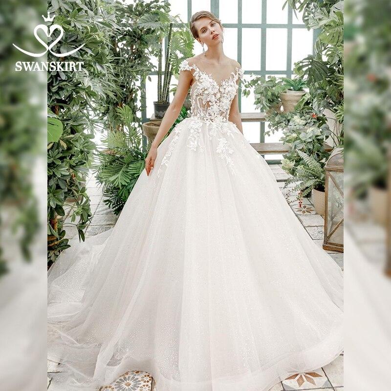 Romantic 3D Flowers Wedding Dress 2019 Swanskirt Sexy Appliques Ball Gown Bridal Wedding Gown Princess Vestido De Noiva SZ11