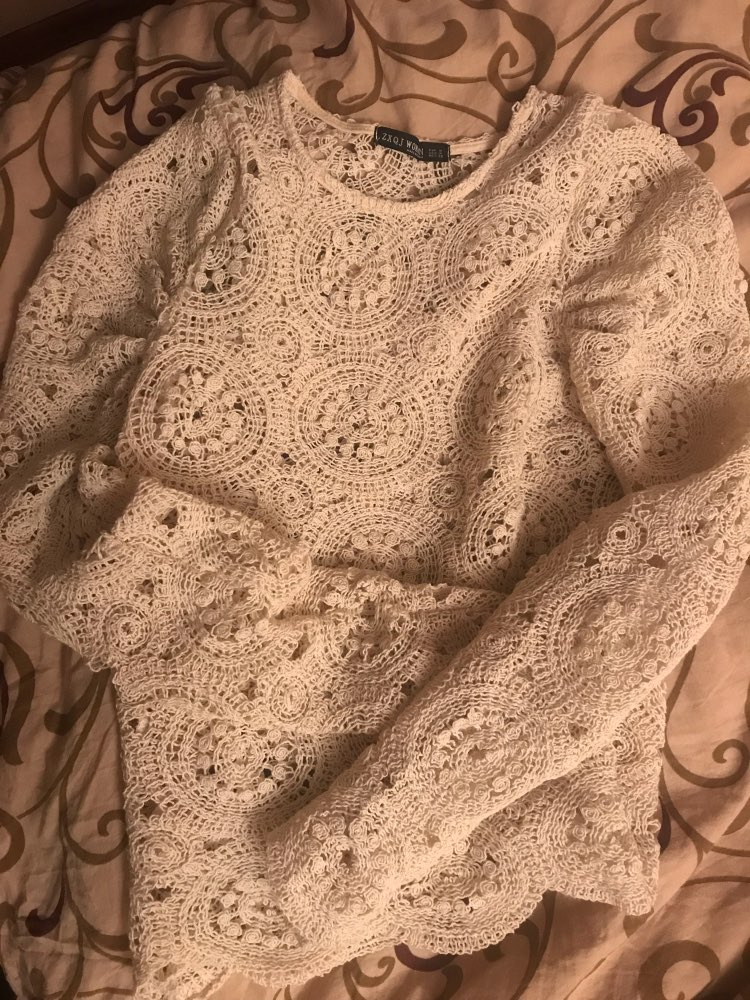 Elegant Long Sleeve Lace Blouse Women Hollow Out Embroidery Solid Tops Knitted Pullover Female Chic Casual Ladies Blusas photo review