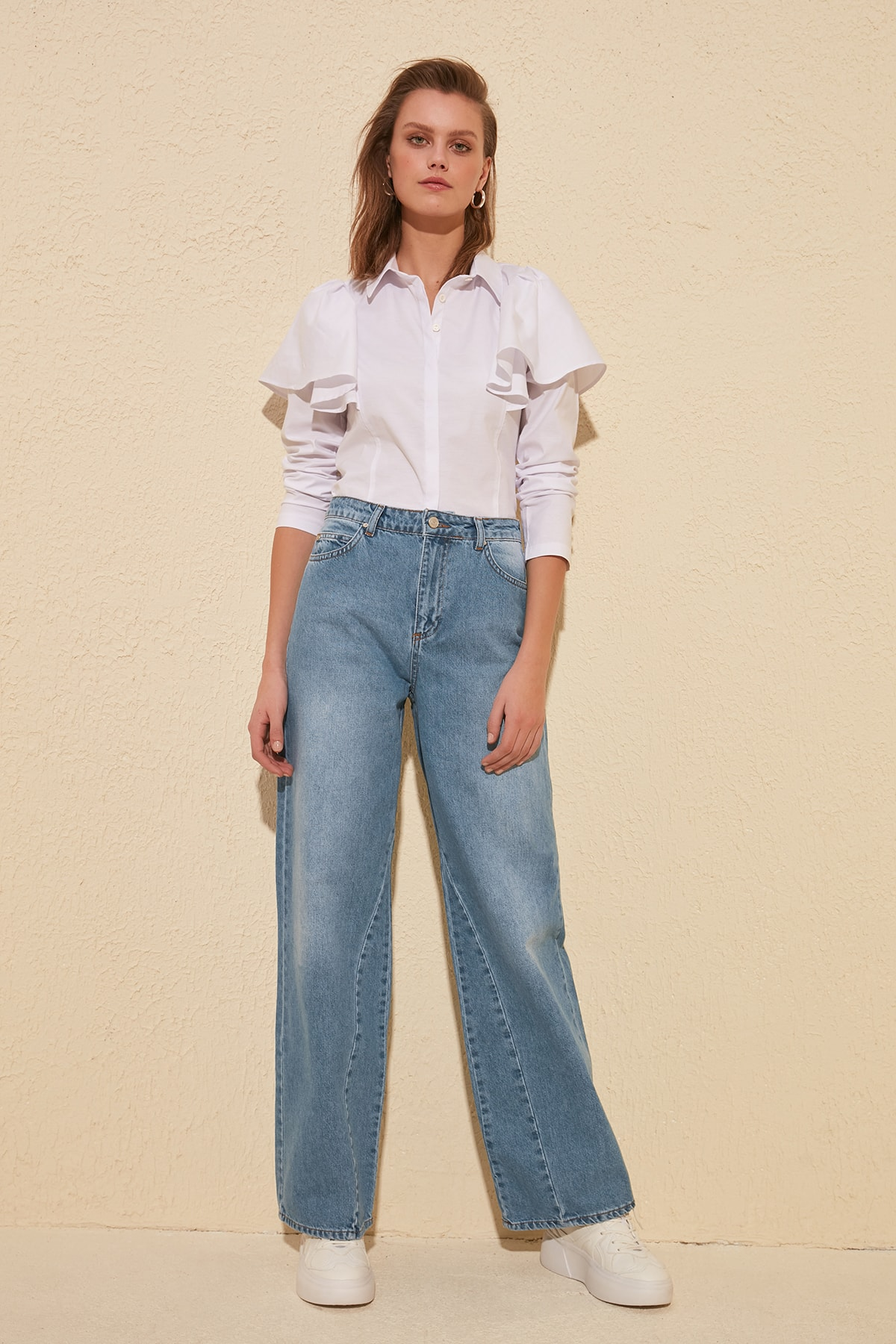 Trendyol Stitch Detail High Bel Wide Leg Jeans TWOSS20JE0146