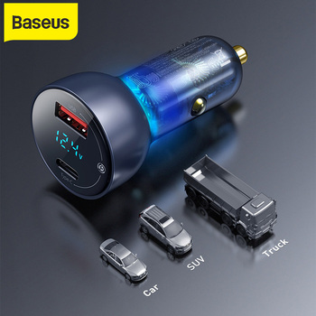 Baseus 65W Car Charger QC+PPS Dual Quick Charger Type C Fast Charging For Mobile Phone Tablet Laptop Charge Auto Charger Adapter
