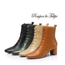купить BHS 9011180 Chic Genuine Cow Leather Elegant 4CM Chunky Heel Stilettos Round Toe Lace Up Cross Tie Women Mid Calf Fashion Boots дешево