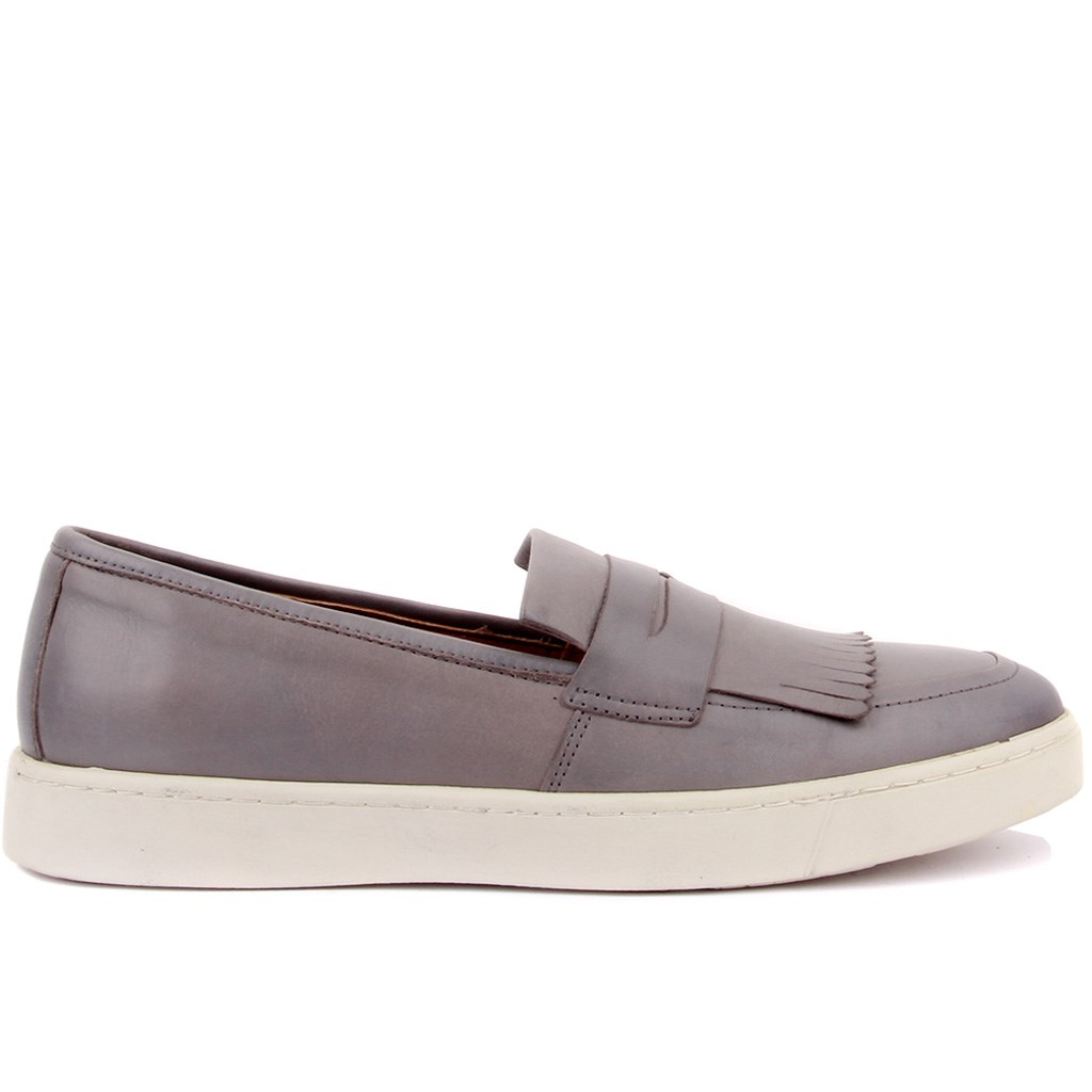 Sail Lakers-Gray Leather Bağcıksız Men Casual Shoes