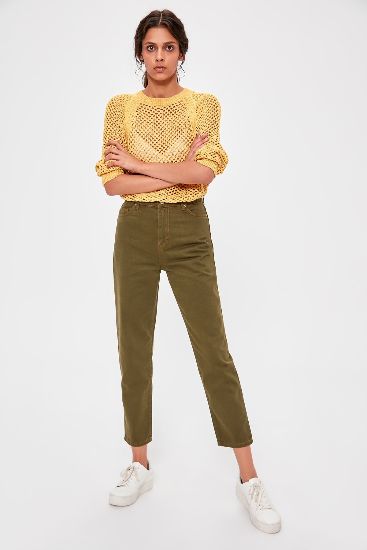 Trendyol Khaki High Waist Mom Jeans TWOAW20JE0187