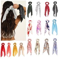 Moda floral impressão polka dot scrunchies longo fita de cabelo para as mulheres rabo de cavalo cachecol doce elástico faixas de cabelo acessórios para o cabelo