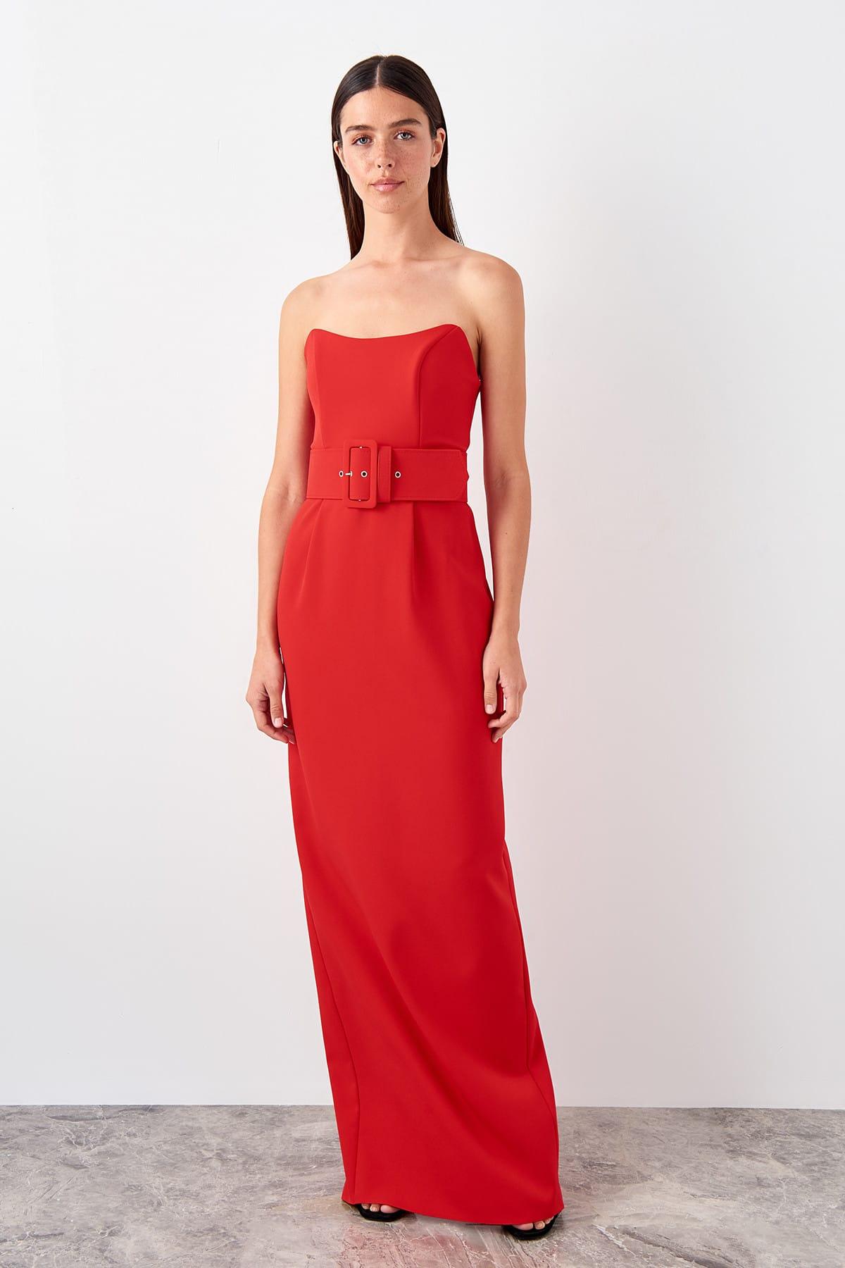 Trendyol Belt Detailed Evening Dress TPRSS19FZ0574()