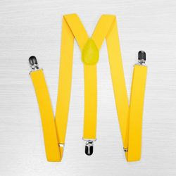 Pants suspenders narrow (2.5 cm, 3 clips, yellow) 54729