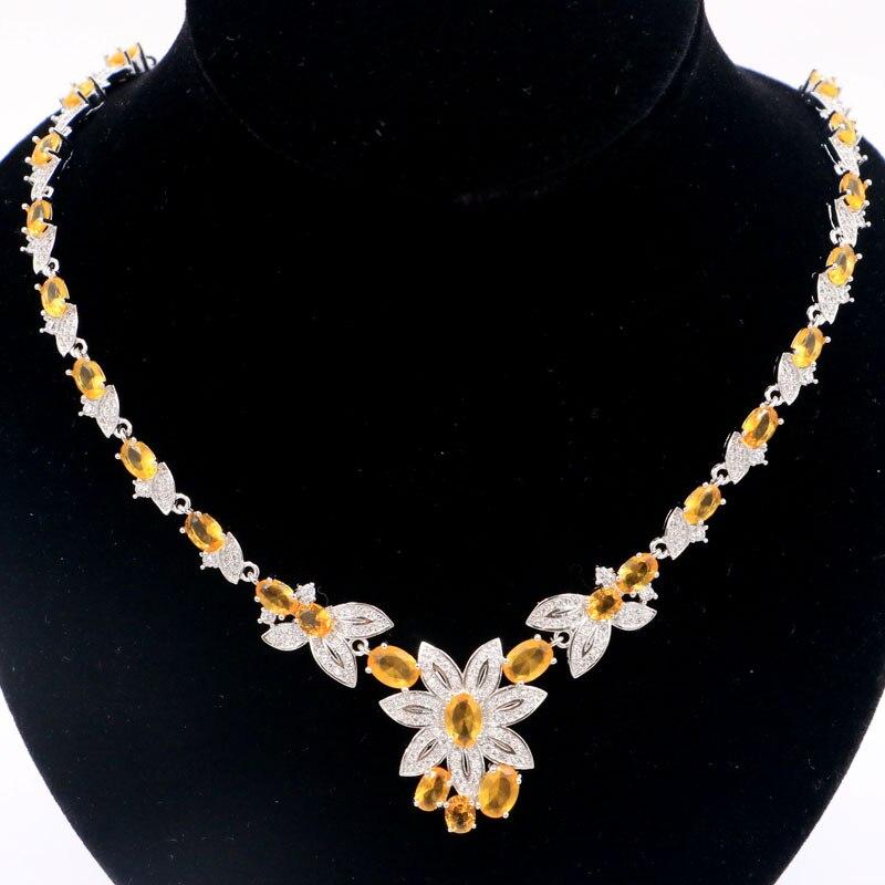 27x23mm SheCrown Heißer Verkauf Goldene Citrine Weiß CZ frau Hochzeit Silber Halskette 18,5 19,5 zoll-in Halsketten aus Schmuck und Accessoires bei  Gruppe 1