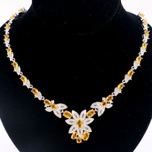 27x23mm SheCrown Hot Sell Golden Citrine White CZ Womans Wedding Silver Necklace 18.5-19.5inch