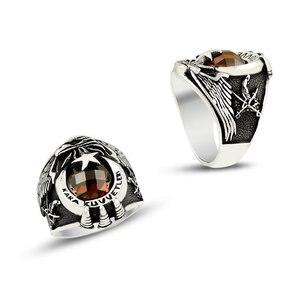 925 sterling Silver głowa orła Army Ring