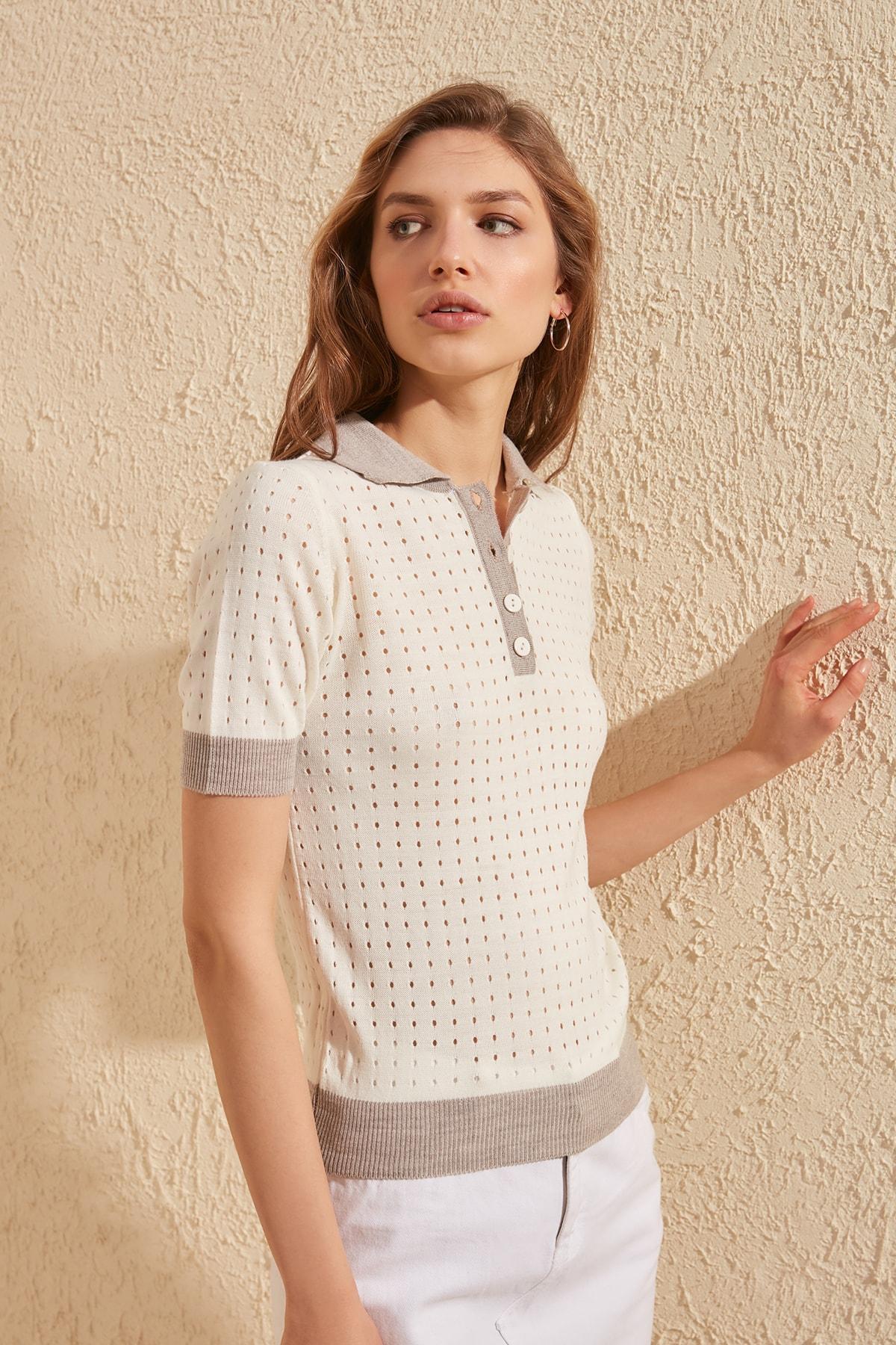 Trendyol Cellular Polo Collar Knitwear Sweater TWOSS20BZ0118