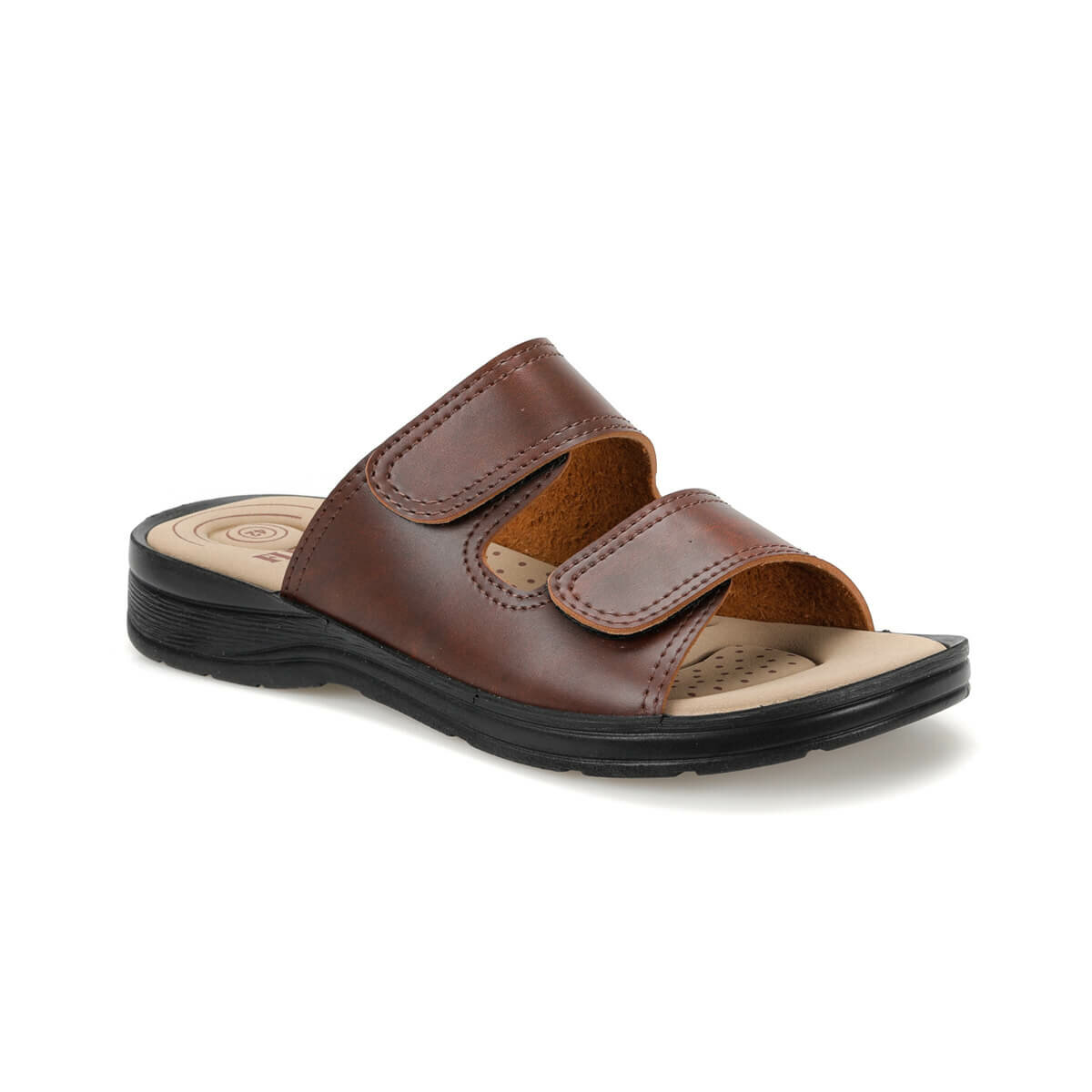 FLO BNK-02 Brown Mens Slippers Flexall