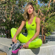 KLALIEN casual sport fitness female jumpsuit 2020 summer sleeveless high stretch bodycon playsuit wo