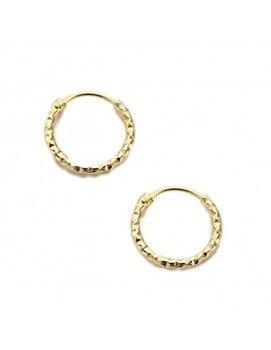 Baby earrings or Gold Girl Plain Hoop Carved
