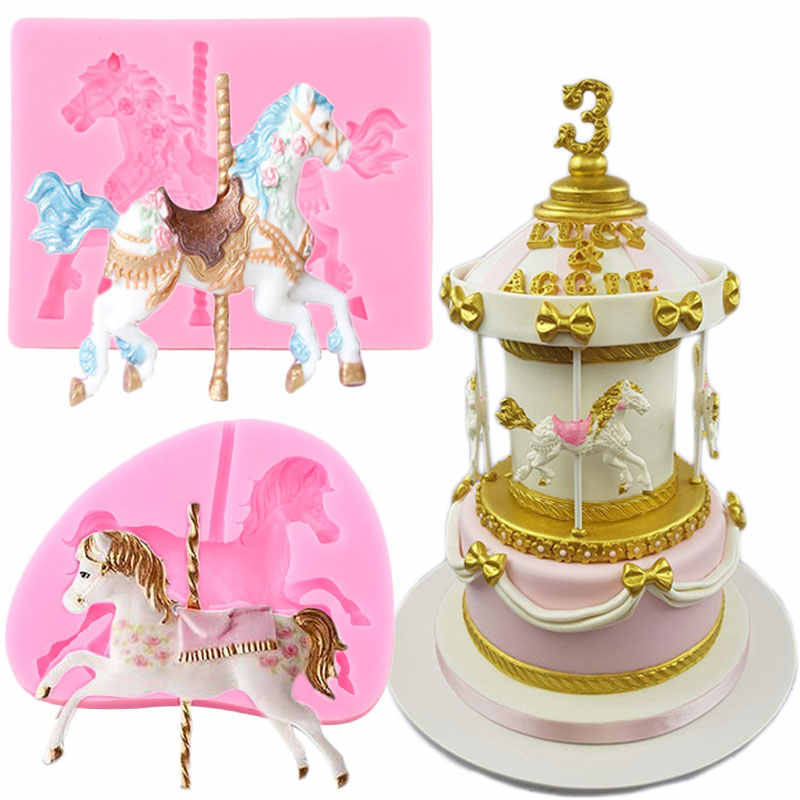 SM1820 Carousel Horse Silicone Mould Mold Paperclay Cake fondant Resin