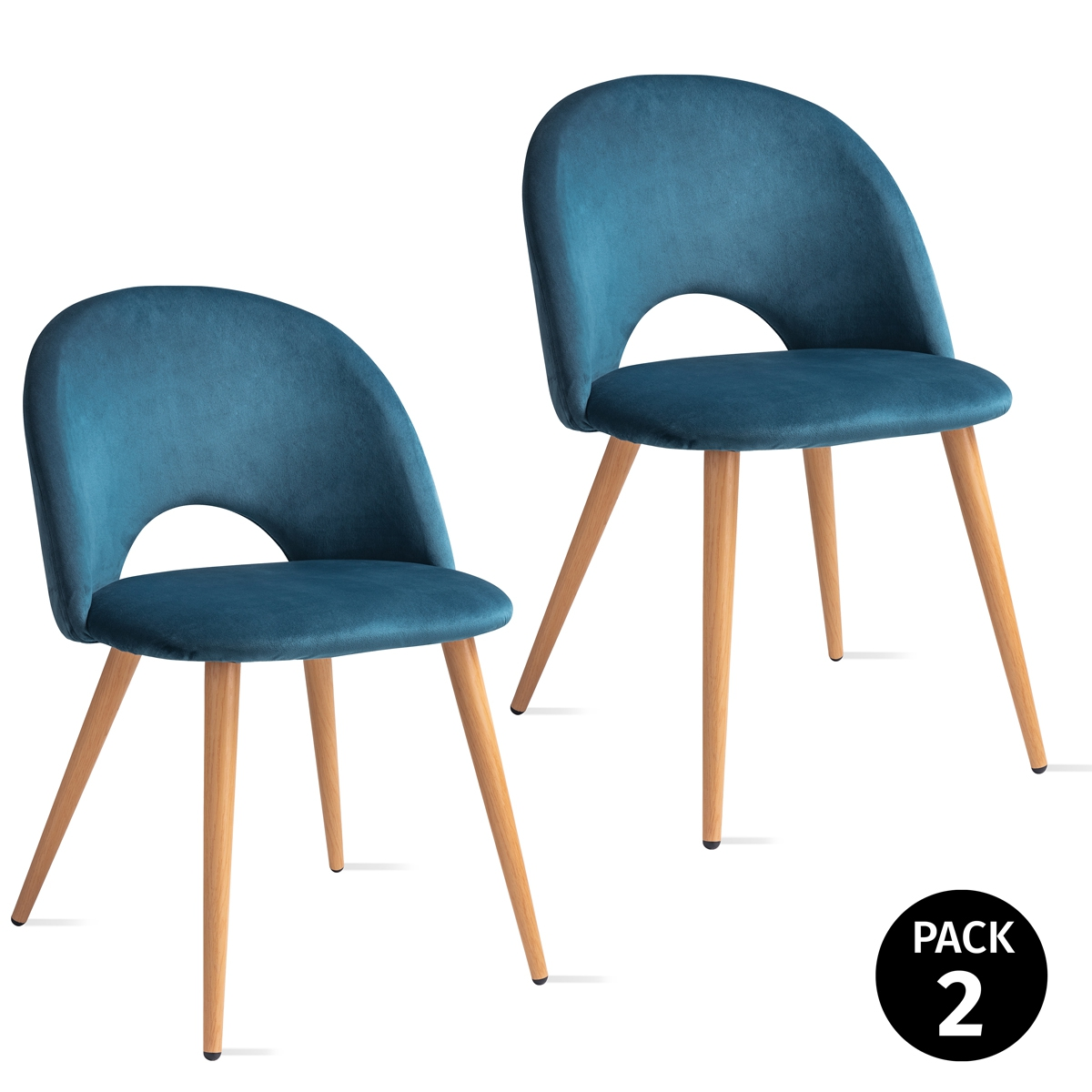 Pack 2 Chairs For Dining Room Room Design Nordico Sky Blue MOON Model 49x46x76cm