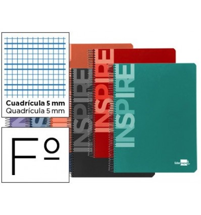 SPIRAL NOTEBOOK LEADERPAPER FOLIO INSPIRE HARDCOVER 80H 60 GR TABLE 5MM MARGIN ASSORTED COLORS 10 PCs