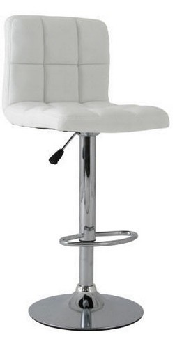 Stool MIAMI (L), Chrome, Upholstered White
