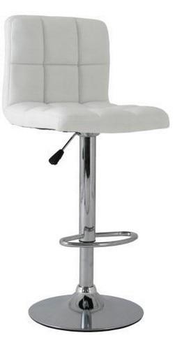 Stool MIAMI (L), Chrome, Upholstered White