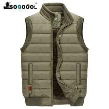 Soqoool зимний теплый пуховый жилет мужская повседневная флисовая