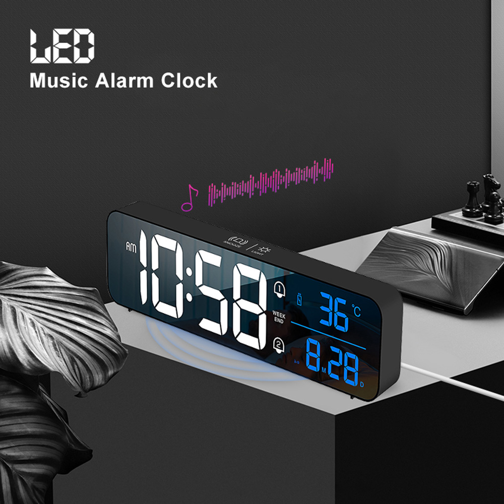 Music LED Digital Alarm Clock Temperature Date Display Desktop Mirror Clocks Home Table Decoration Electronic Clock 2000 mAh 1