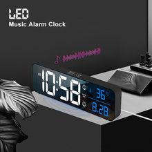 Música led digital despertador temperatura data display espelho de mesa relógios casa decoração relógio eletrônico 2000 mah