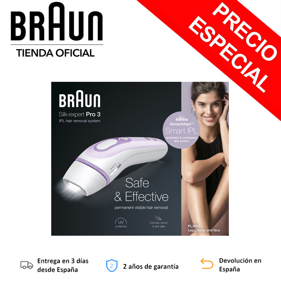 Braun Silk-Expert Pro IPL PL3012 Epilator pulsed light, permanent hair removal, 3 Levels intensity, 300 000 shots