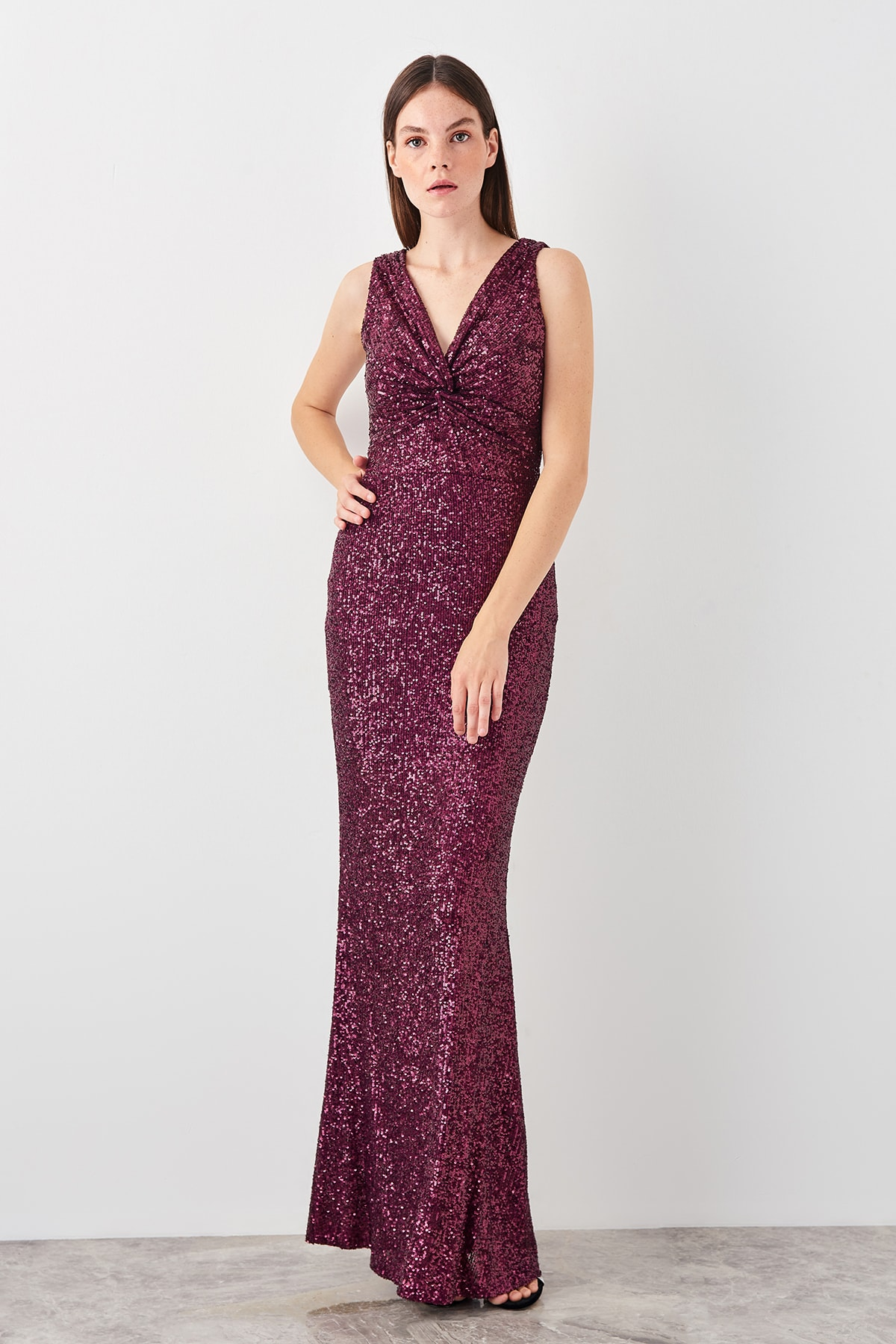 Trendyol Sequined Evening Dress TPRSS19AE0146