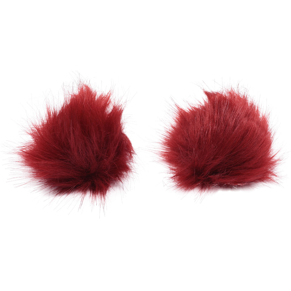 Pompoms Made Of Artificial Fur (Fox), D-8cm, 2 Pcs/pack (red)