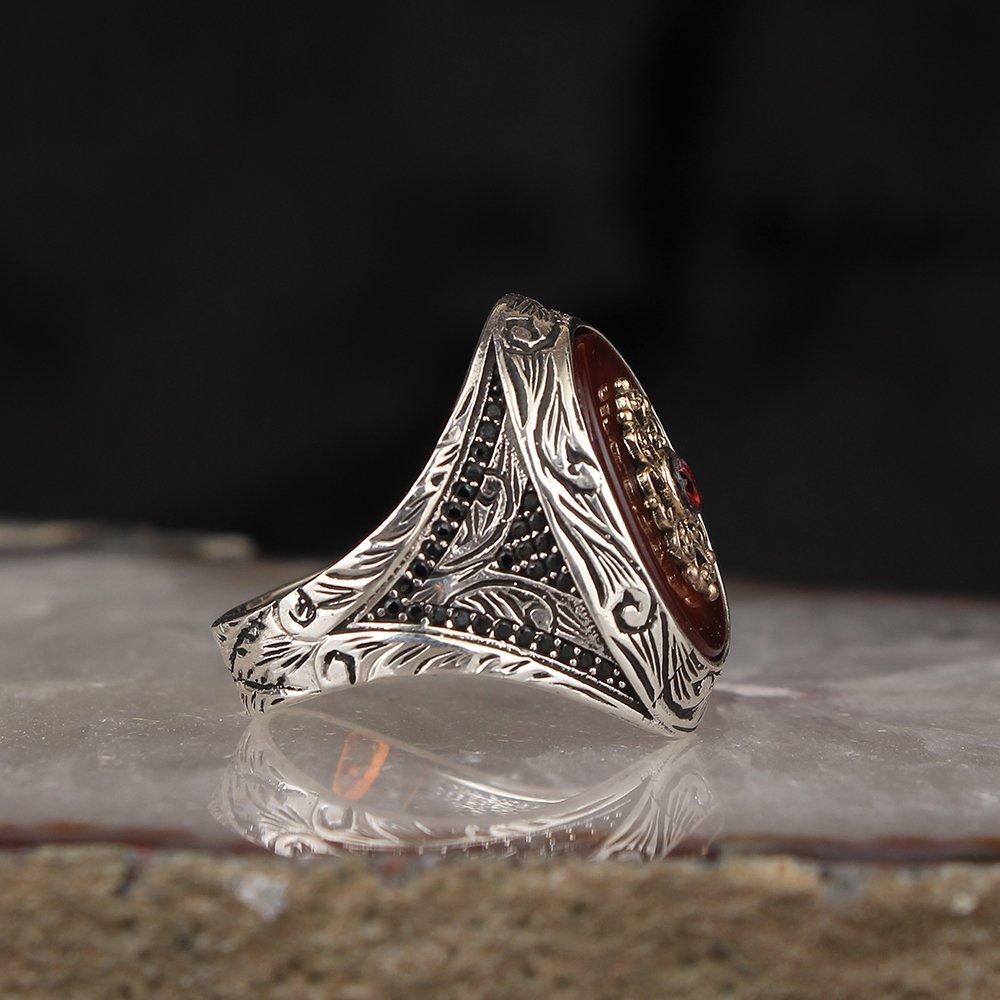 Bague en pierre de lave en argent sterling 925 | Bague fait à la main, bague pour hommes et femmes, bijou de qualité artisanal