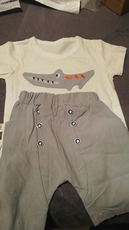 New 2020 Kids Boys Clothing Sets Summer Cartoon Crocodile Short Sleeve O-Neck T-Shirt Tops with Shorts Girls Cotton Pajama Sets photo review