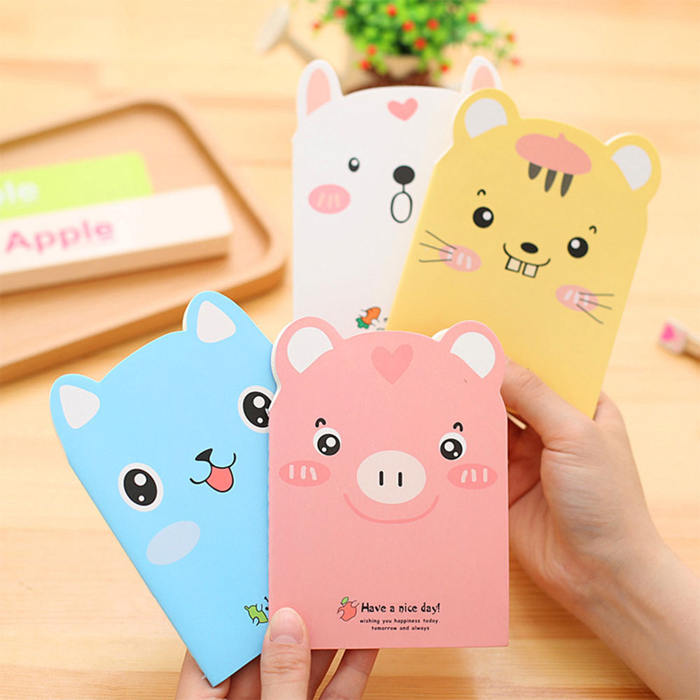 1PCS Cute Mini Cartoon Animal Journal Diary Notebook With Lined Paper Notepad Book Kids Korean Creative Notepad Office Supplies