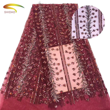 New Arrival Handmade 3D Eco-Friendly Sequins French Indian Lace Fabrics For Fashion Nigerian Wedding Dress