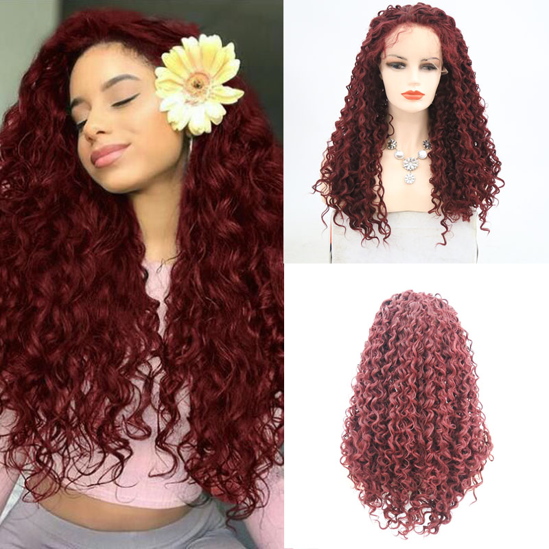 Charisma Burgundy Red Deep Curly Wigs Synthetic Lace Front Wig Glueless Heat Friendly Fiber For Women Cosplay Daliy Use African