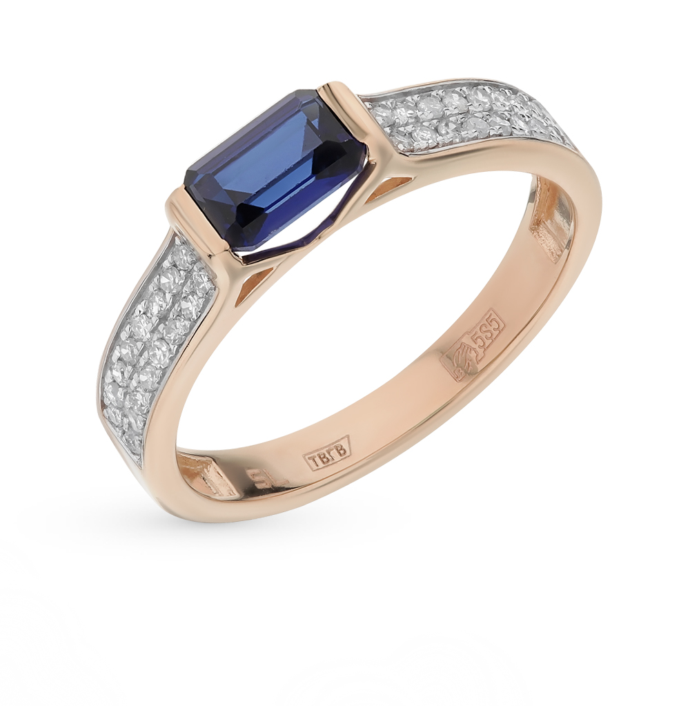 Gold Ring With Corundum And Diamond SUNLIGHT Test 585