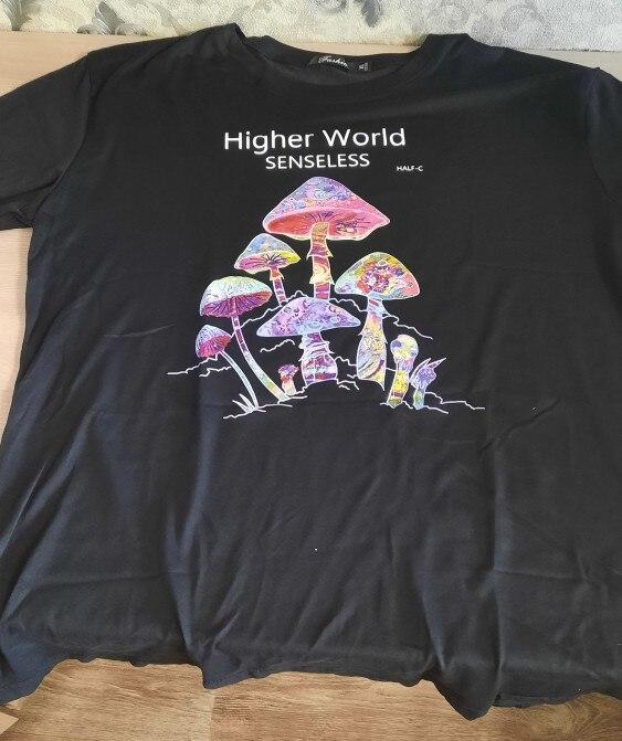 Harajuku Colorful Mushroom Print T-shirt Street casual Streetwear 2020 Harajuku Casual Pullover T-shirt Female Mens Fashion Tops photo review