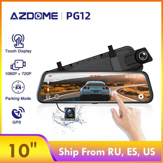 """AZDOME PG12 coche Dvr 10 """"FHD pantalla táctil Dashcam Stream Media grabadora visión nocturna Dash Cámara lente Dual 720P cámara de visión trasera"""