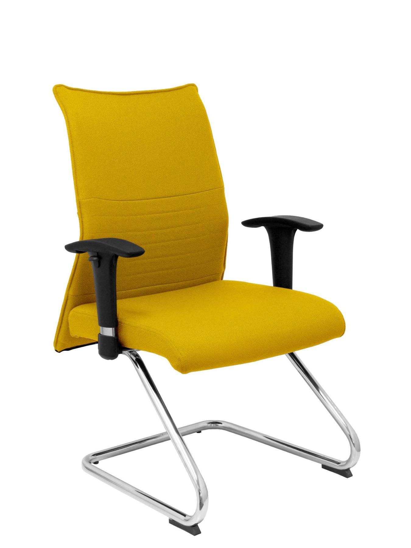 Armchair Confidante Ergonomic For Visits With Skate Chrome Up Seat And Backstop Upholstered In BALI Tissue Color Amaril